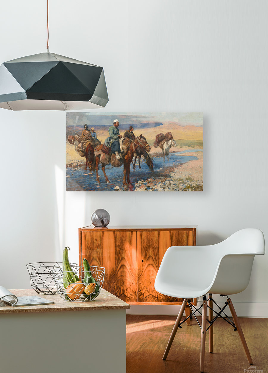 Horses at the Ford-Persia  HD Metal print with Floating Frame on Back