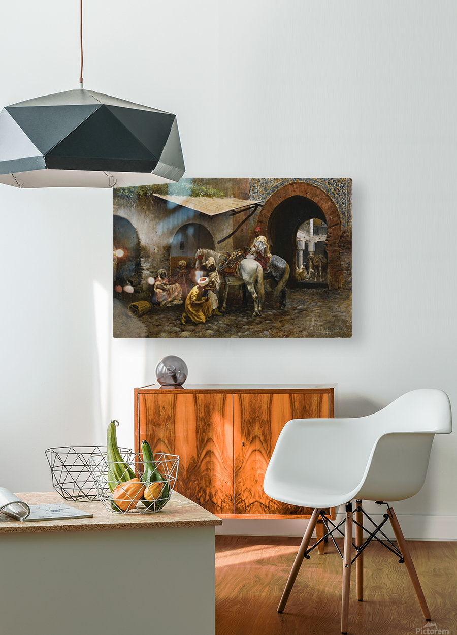 Horse care in oriental market  HD Metal print with Floating Frame on Back