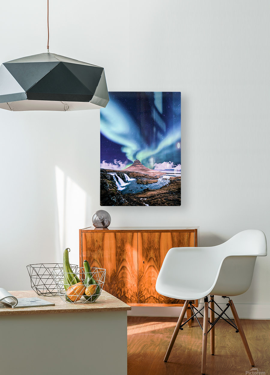 Aurora Polaris And The River  HD Metal print with Floating Frame on Back