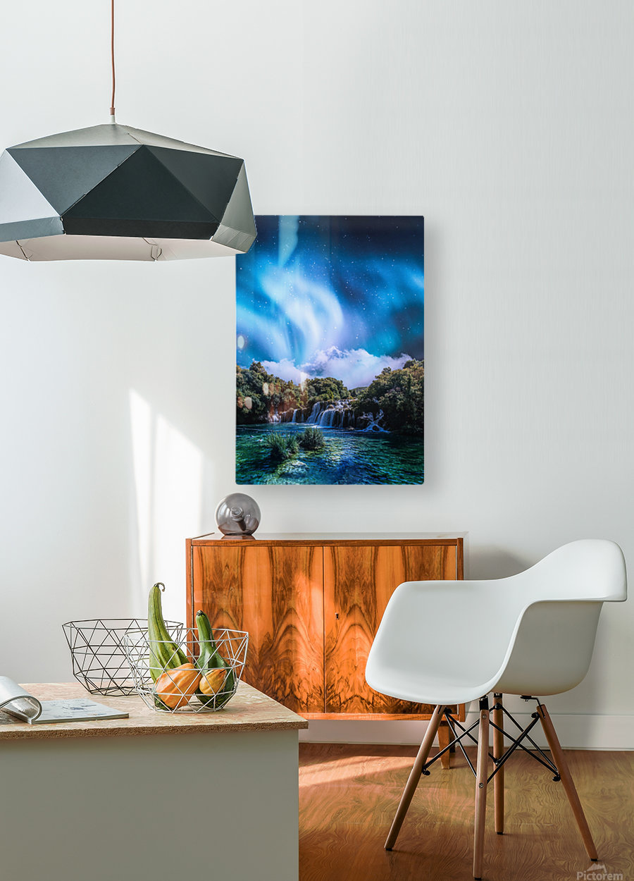 Aurora Polaris Over The Waterfall  HD Metal print with Floating Frame on Back