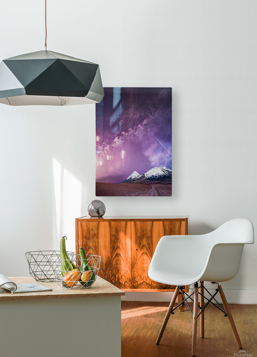 Milky Way Over The Volcano  HD Metal print with Floating Frame on Back