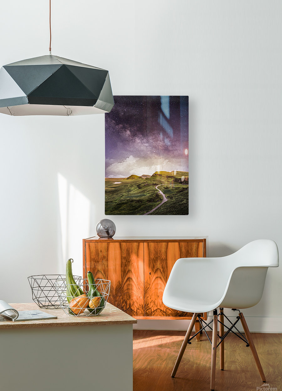 Purple Milky Way And The Sunshine  HD Metal print with Floating Frame on Back