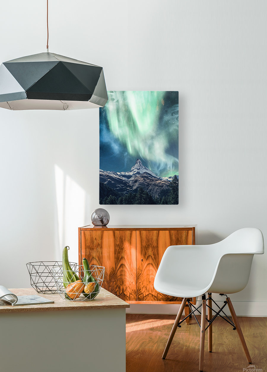 Aurora Polaris Over The Peak At Night  HD Metal print with Floating Frame on Back