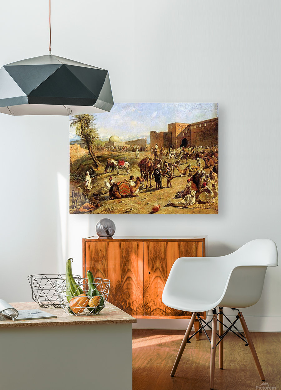 Arrival of a caravan outside the city of Morocco  HD Metal print with Floating Frame on Back
