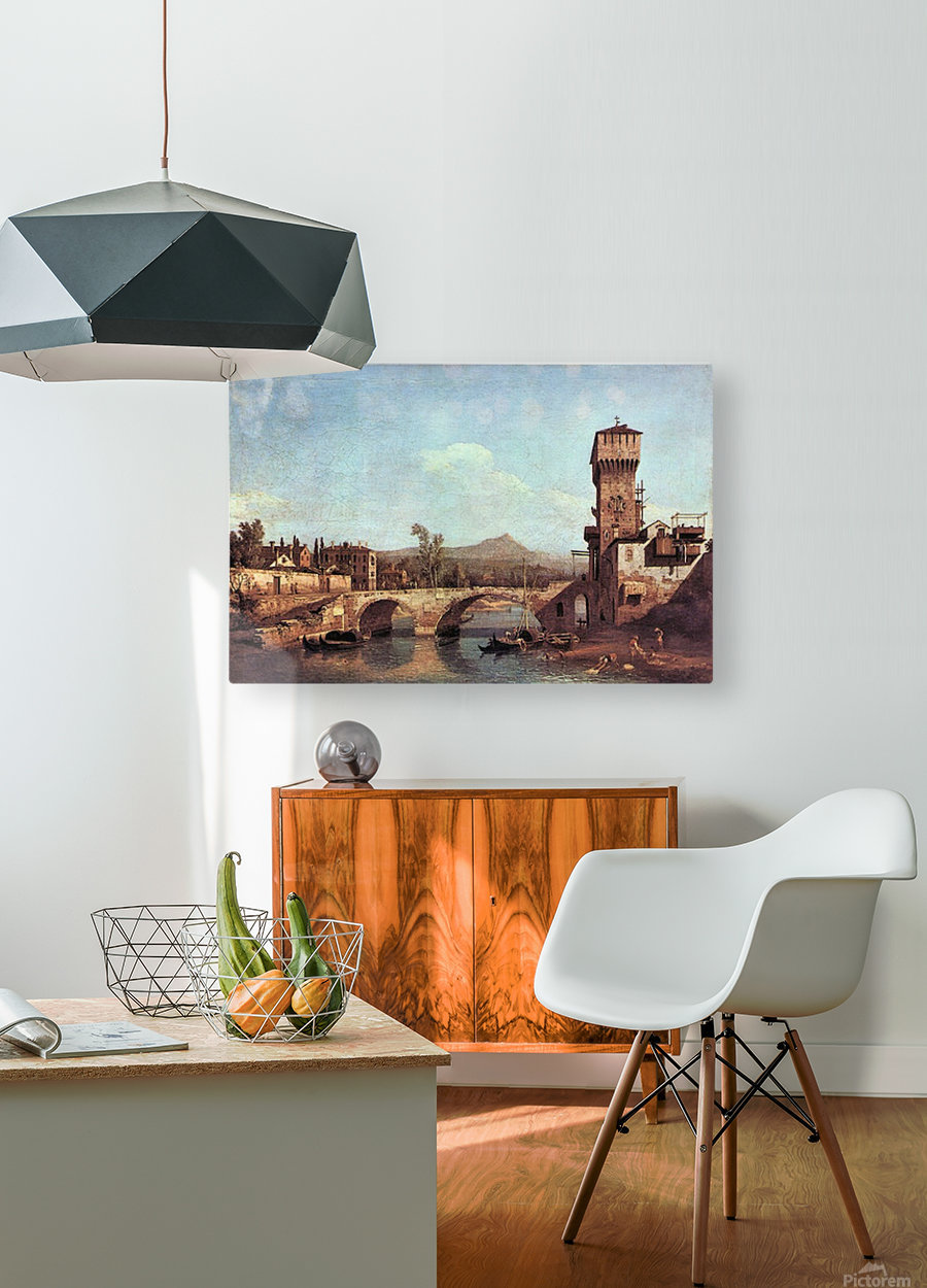 Capriccio Veneto by Canaletto  HD Metal print with Floating Frame on Back