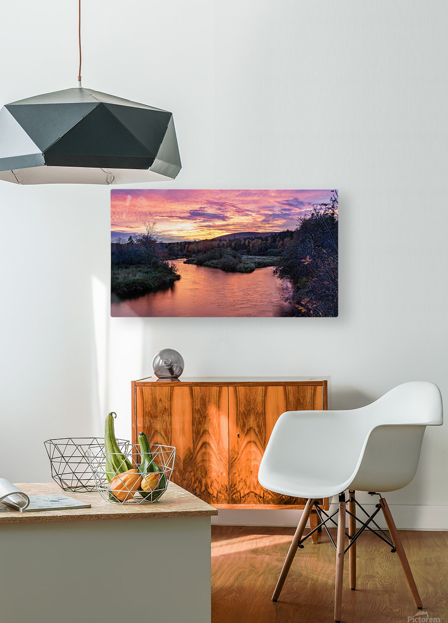 Early morning on the Margaree river   HD Metal print with Floating Frame on Back