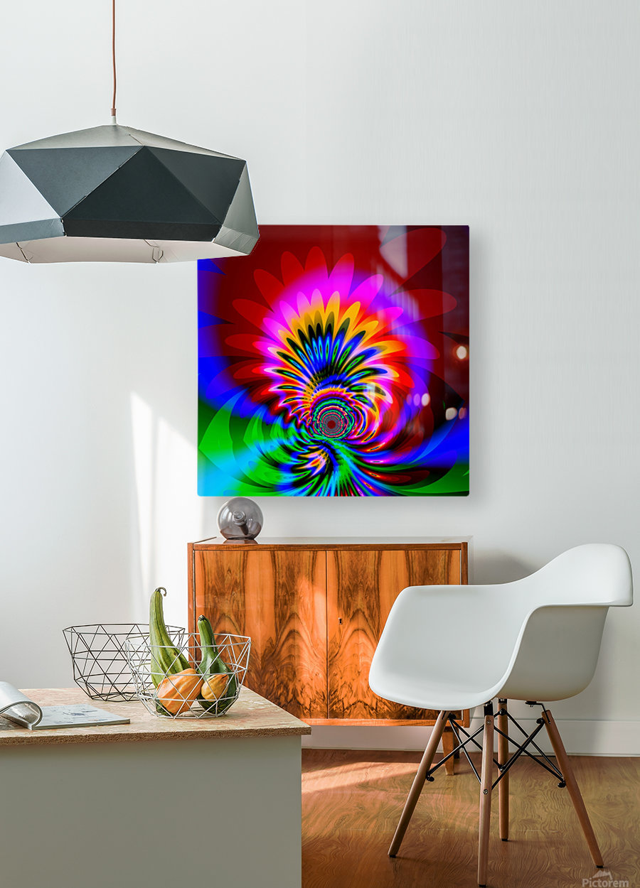 Psychedelic_Flower_series_3  HD Metal print with Floating Frame on Back