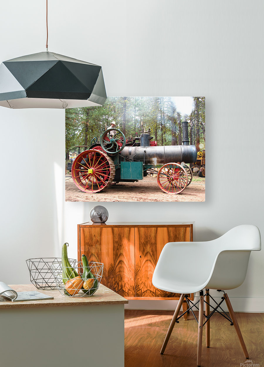 Logging Steam Tractor  HD Metal print with Floating Frame on Back