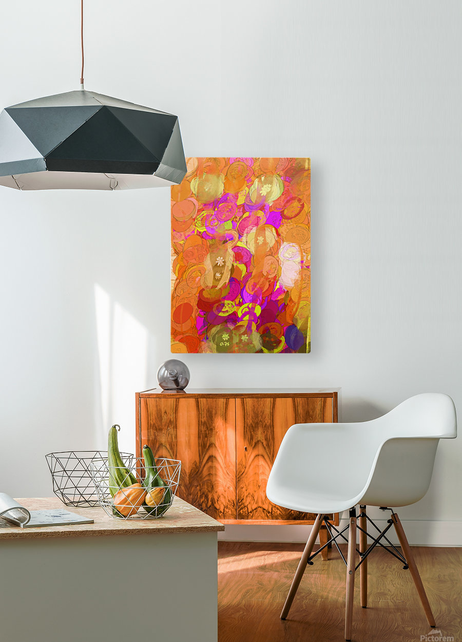 Pink and orange  HD Metal print with Floating Frame on Back