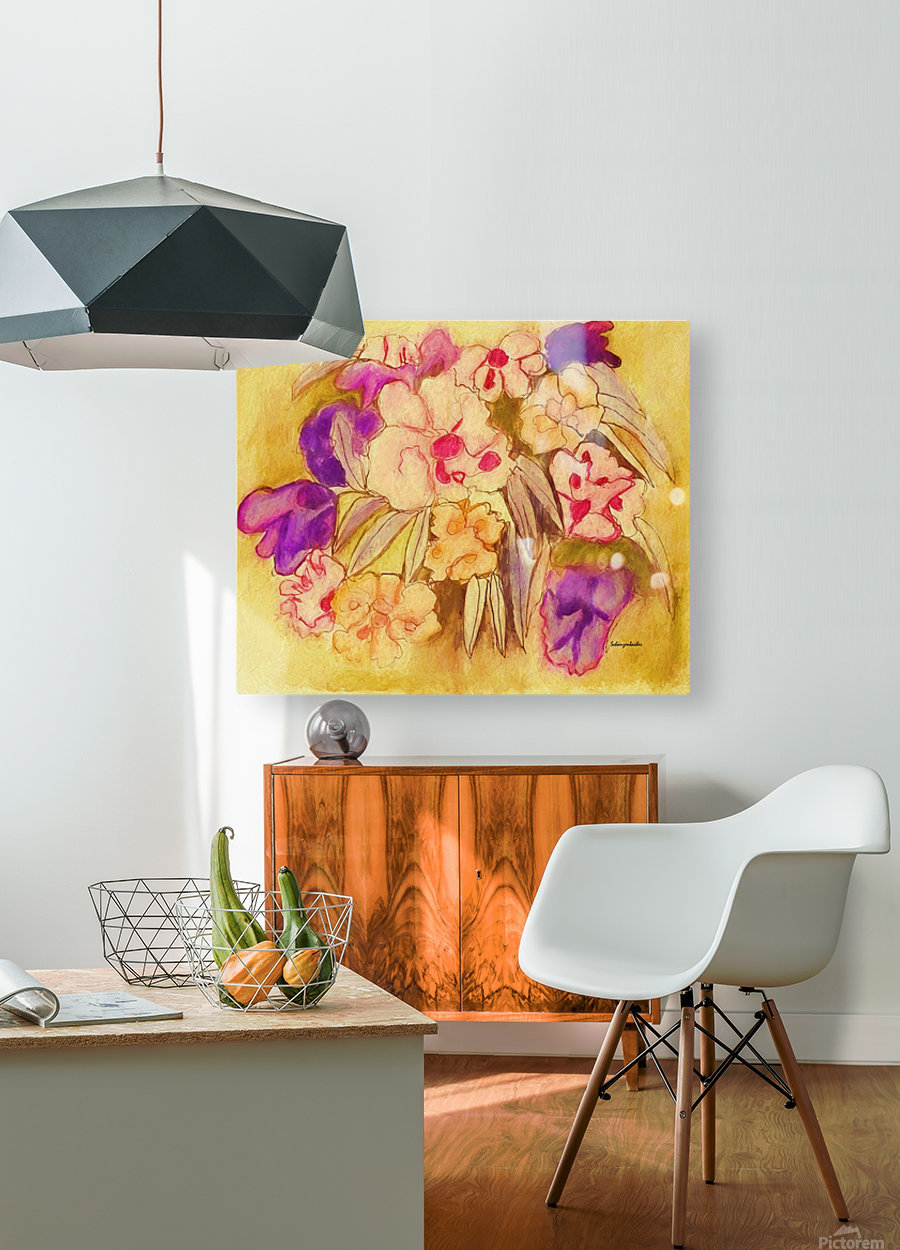 Floral pansies  HD Metal print with Floating Frame on Back
