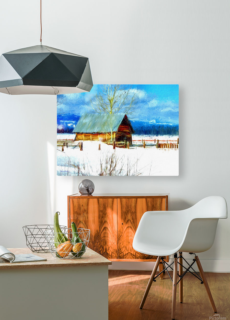 Winter Homestead Watercolor   HD Metal print with Floating Frame on Back