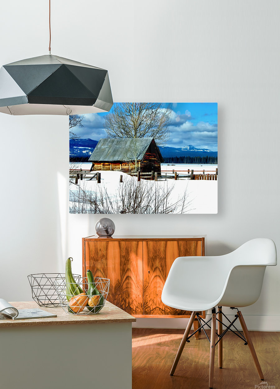 Winter Homestead   HD Metal print with Floating Frame on Back