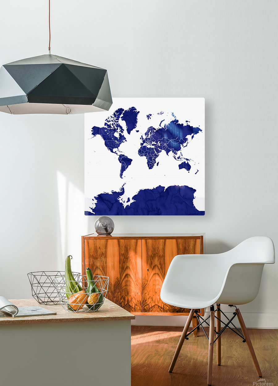 navy blue world map with outlined countries  HD Metal print with Floating Frame on Back