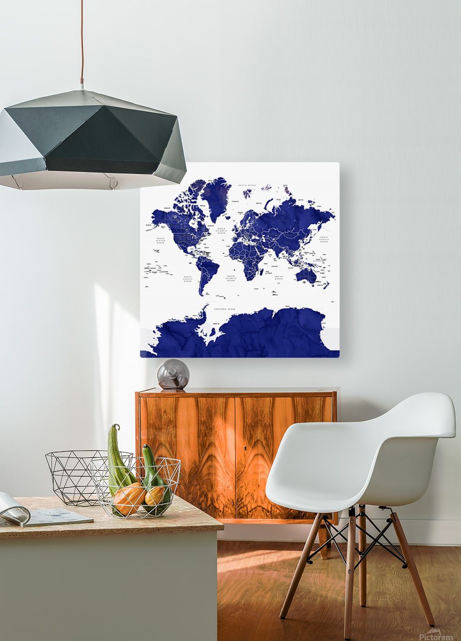 Navy blue watercolor world map with countries and states labelled  HD Metal print with Floating Frame on Back