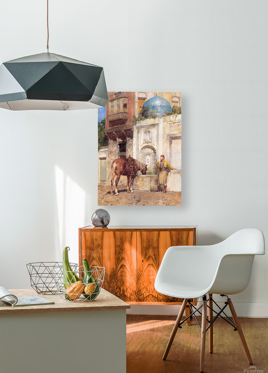 At the Well  HD Metal print with Floating Frame on Back