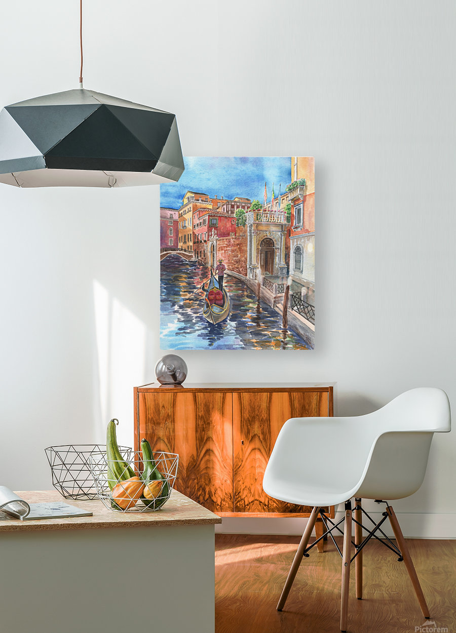 Venice Canal And Gondolier Italian City Landscape   HD Metal print with Floating Frame on Back
