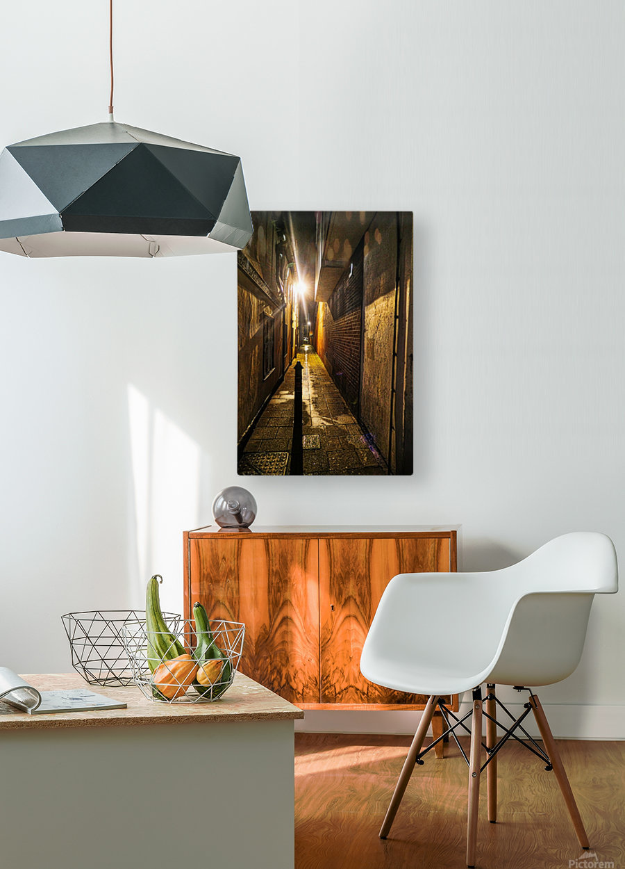Alley light  HD Metal print with Floating Frame on Back