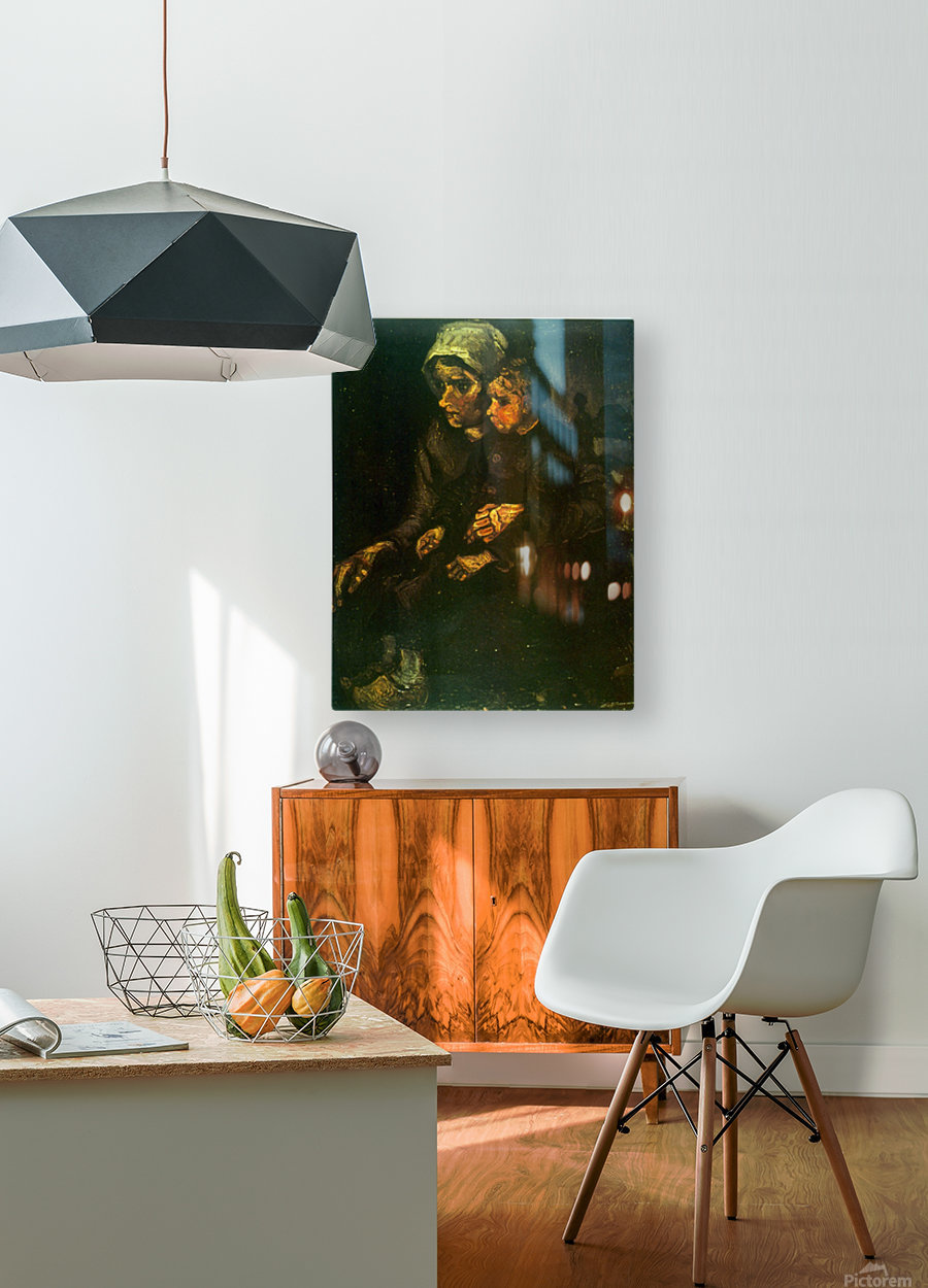 Child on Lap by Van Gogh  HD Metal print with Floating Frame on Back