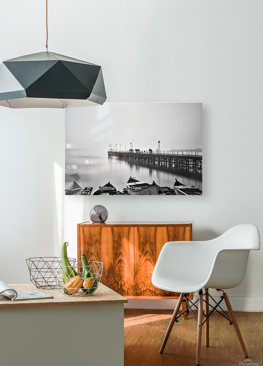 Foggy sea bridge  HD Metal print with Floating Frame on Back