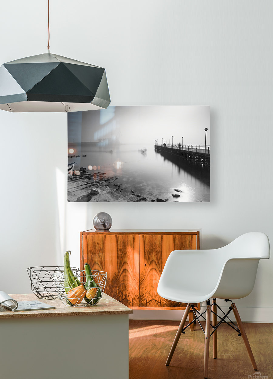 Foggy evening at the port of Balchik  HD Metal print with Floating Frame on Back