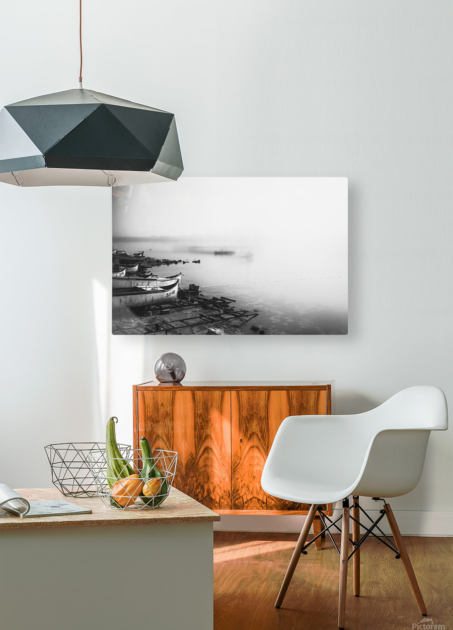 Foggy fishing port  HD Metal print with Floating Frame on Back