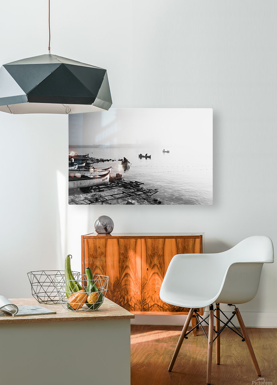 Fishing boats at the foggy port of Balchik  HD Metal print with Floating Frame on Back