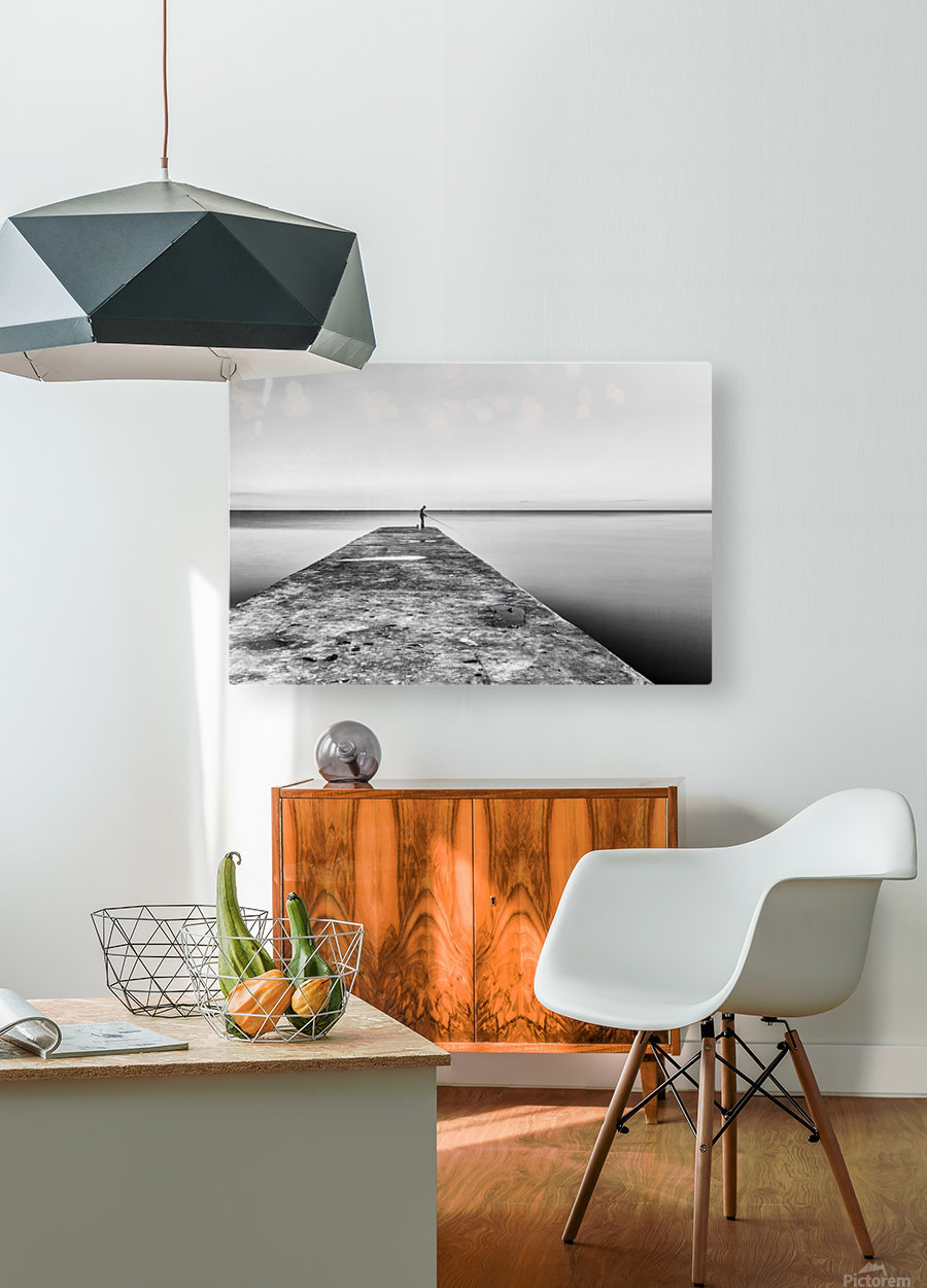 Fisherman angling at sunset  HD Metal print with Floating Frame on Back