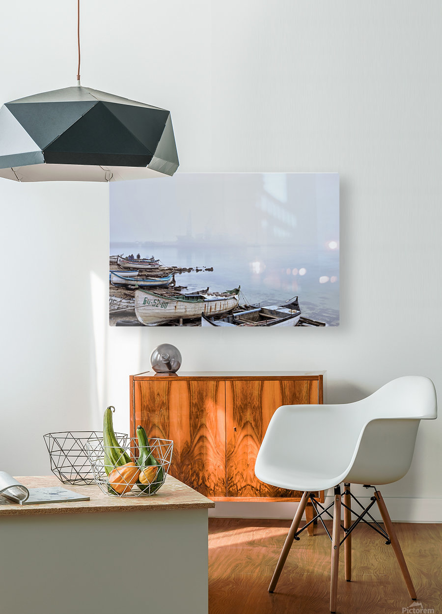 Fishing boats in fog  HD Metal print with Floating Frame on Back