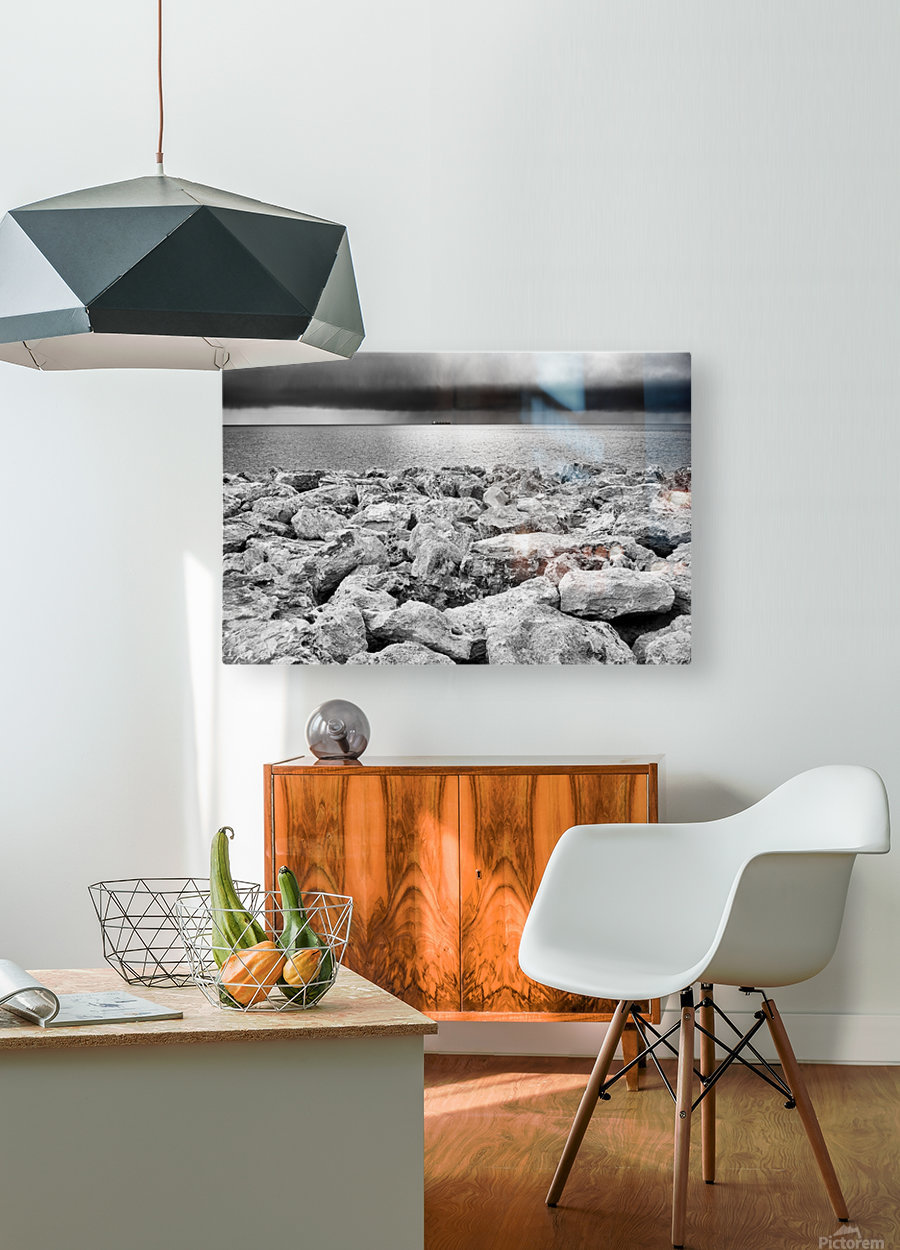 Stormy weather at the beach  HD Metal print with Floating Frame on Back