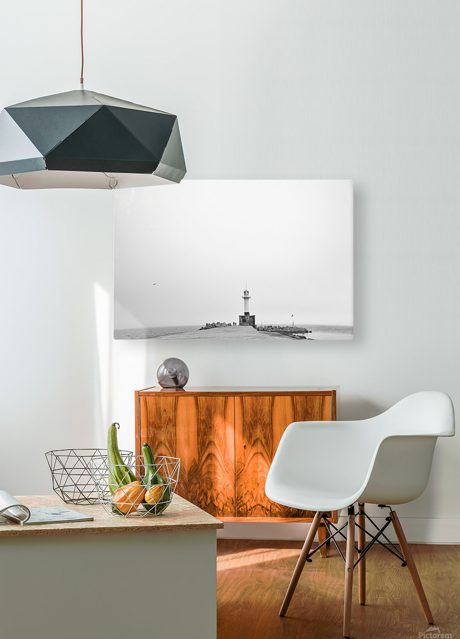 Minimalistic lighthouse  HD Metal print with Floating Frame on Back