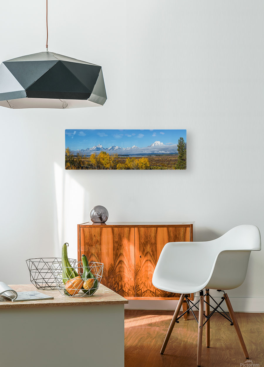 Tetons In the Fog  HD Metal print with Floating Frame on Back