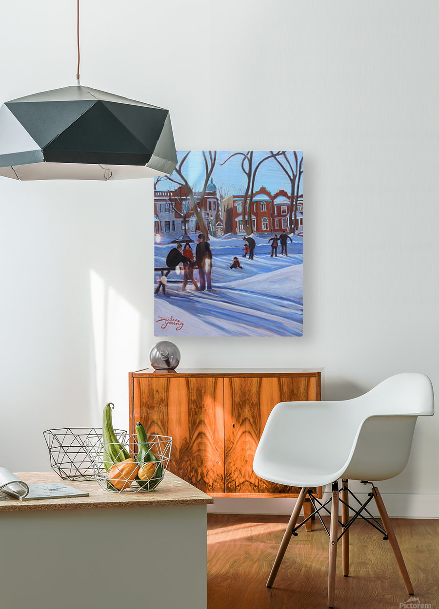 Learning to Skate at Outremont Park  HD Metal print with Floating Frame on Back