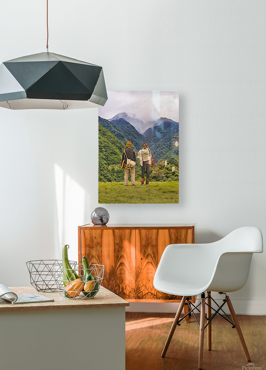Young Backpackers at Top of Mountain, Banos, Ecuador  HD Metal print with Floating Frame on Back