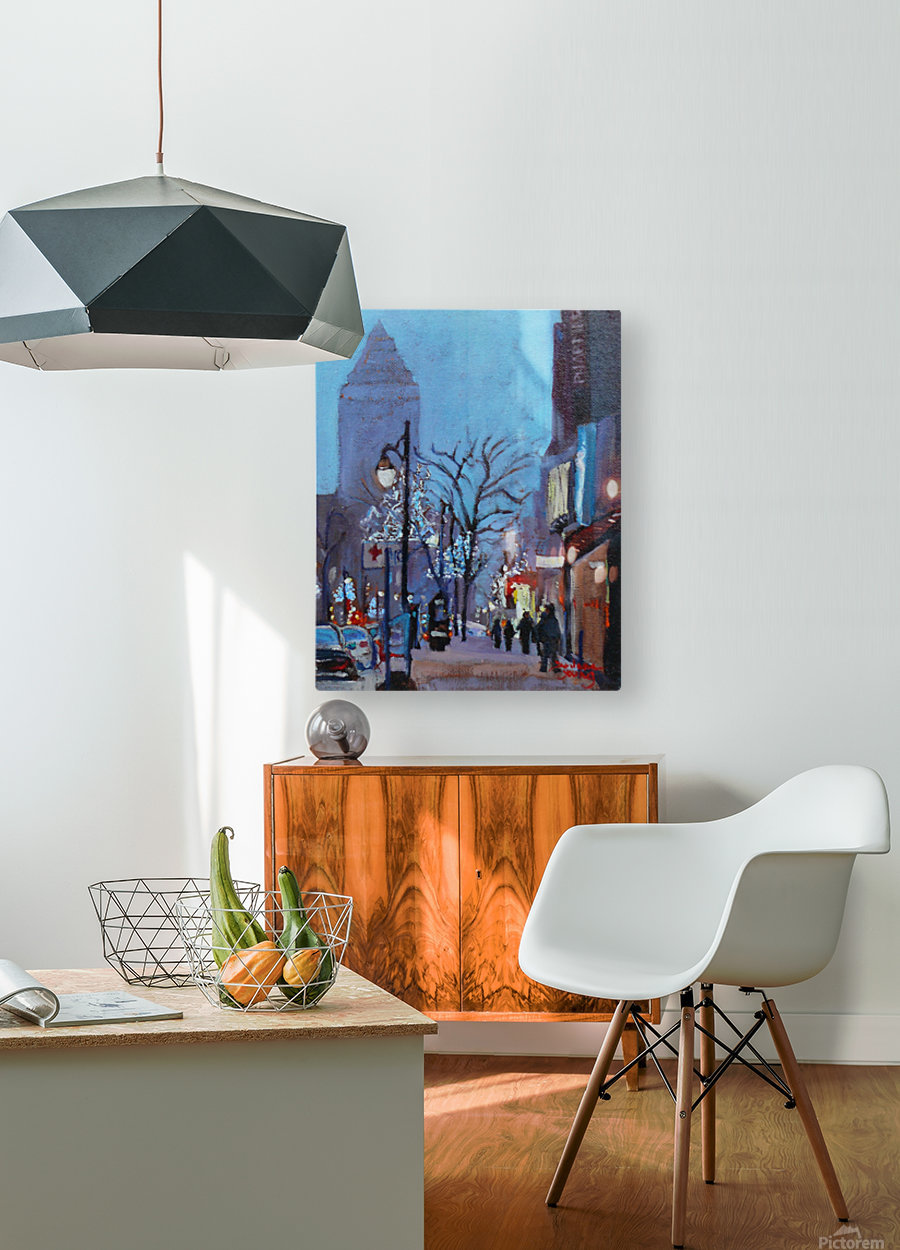Downtown Montreal Night  HD Metal print with Floating Frame on Back