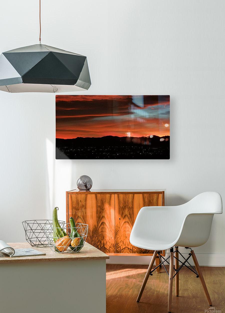 SkyFire  Impression métal HD avec cadre flottant sur le dos