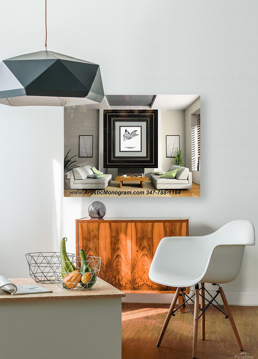 art   monogram   dove  HD Metal print with Floating Frame on Back