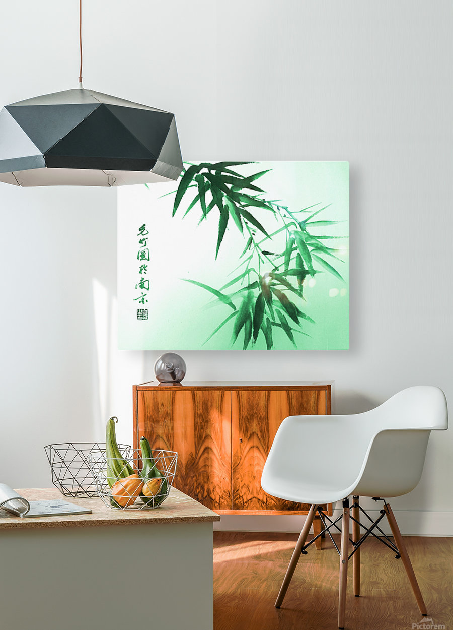 Green Bamboo Twig  HD Metal print with Floating Frame on Back