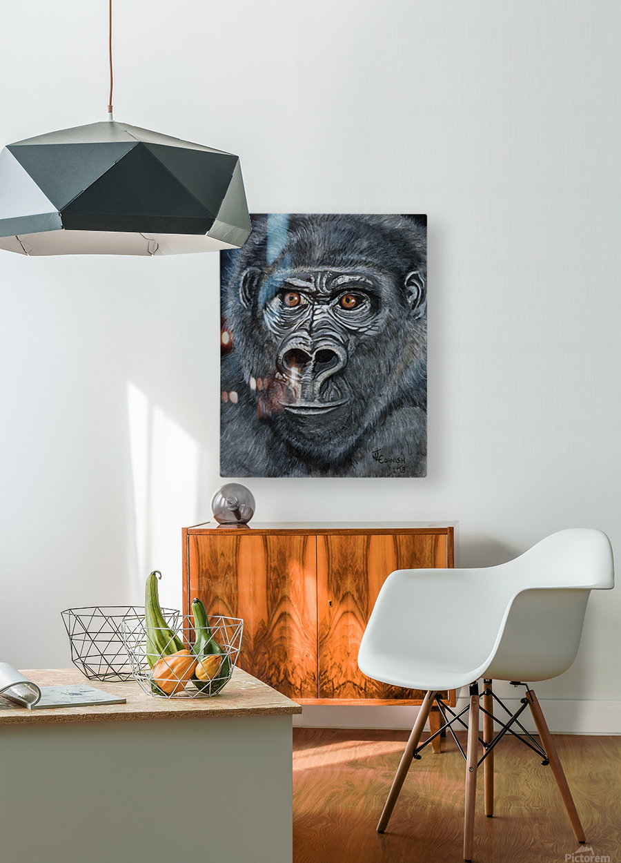Silverback  HD Metal print with Floating Frame on Back
