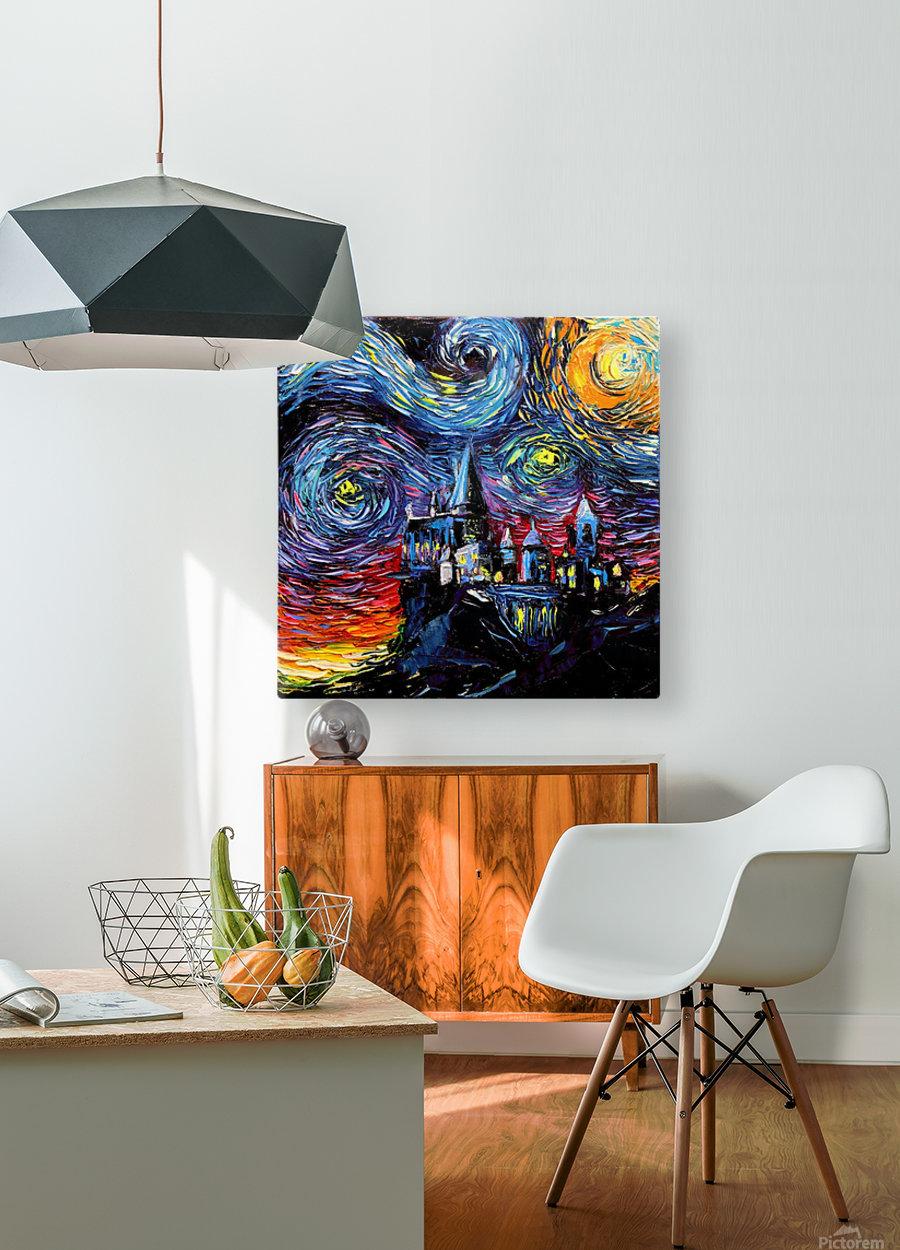 Castle Starry Night print van Gogh parody  HD Metal print with Floating Frame on Back