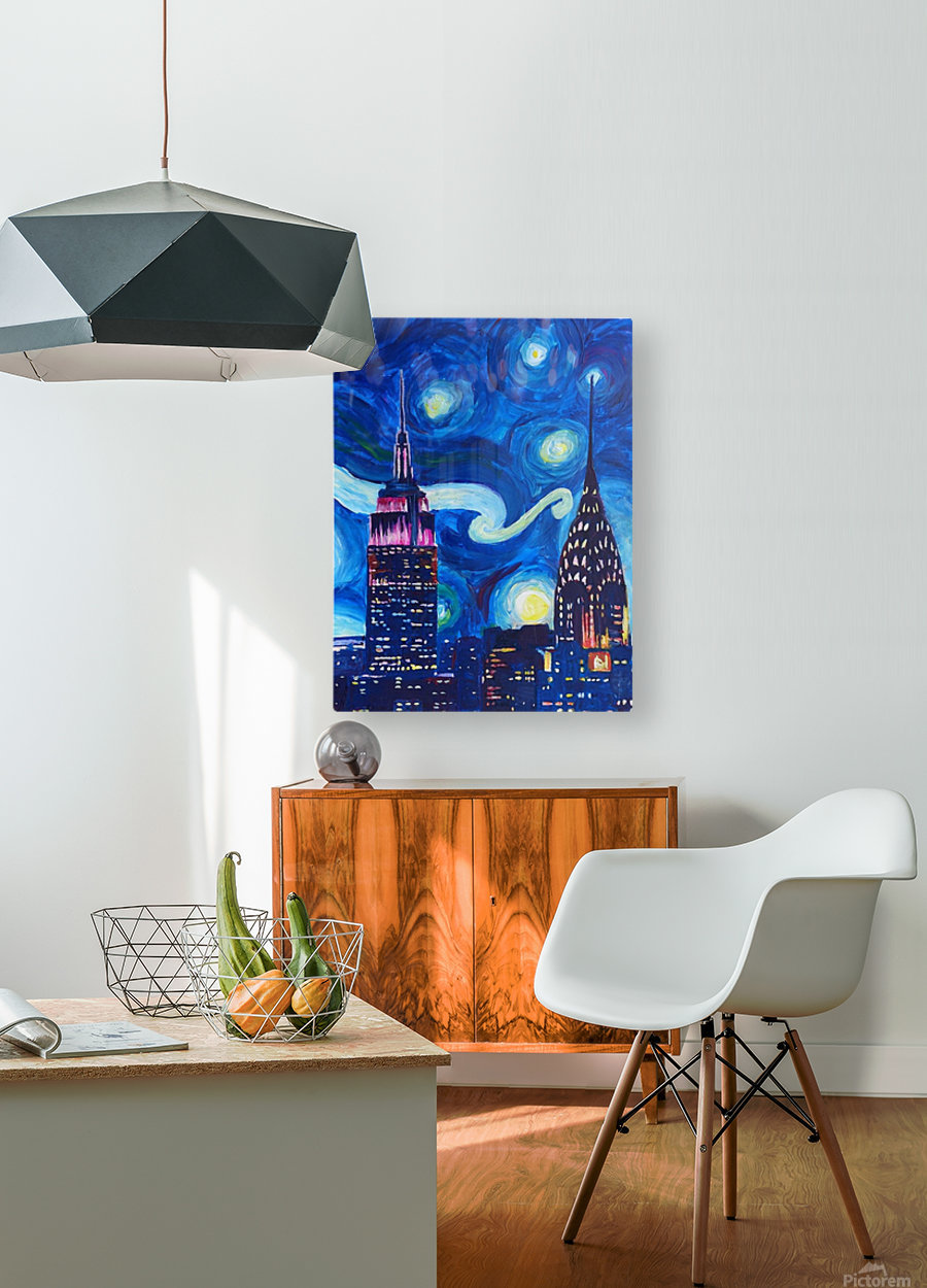 Starry Night in New York Van Gogh Manhattan Chrysler Building and Empire State Building  HD Metal print with Floating Frame on Back