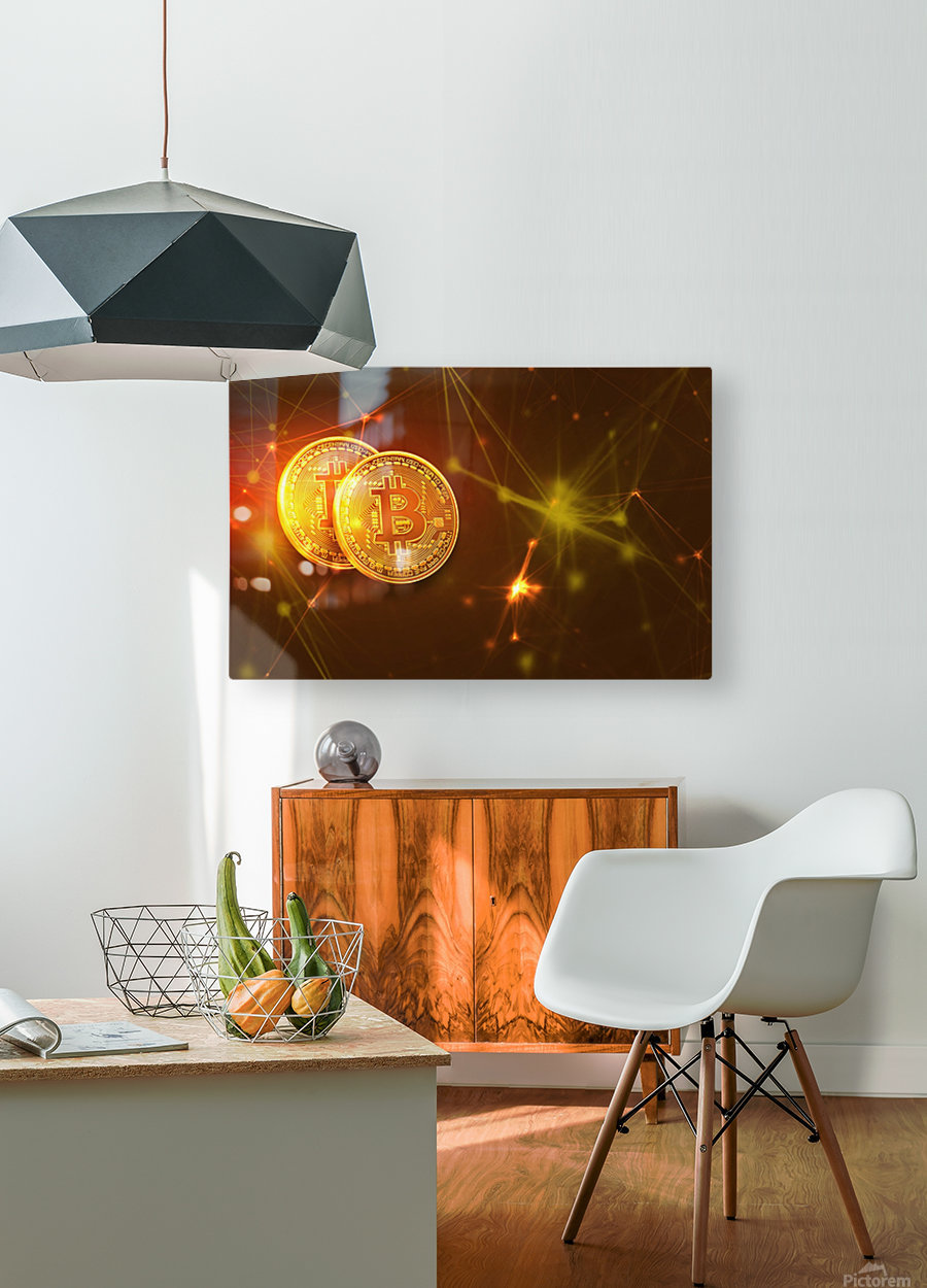 Bitcoin  HD Metal print with Floating Frame on Back
