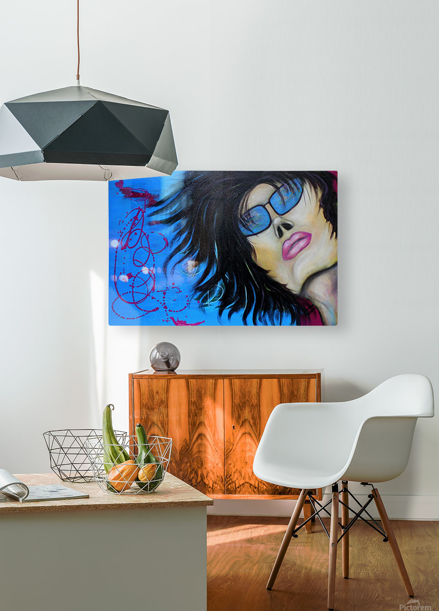 La femme a lunette sous le ciel Bleu  HD Metal print with Floating Frame on Back
