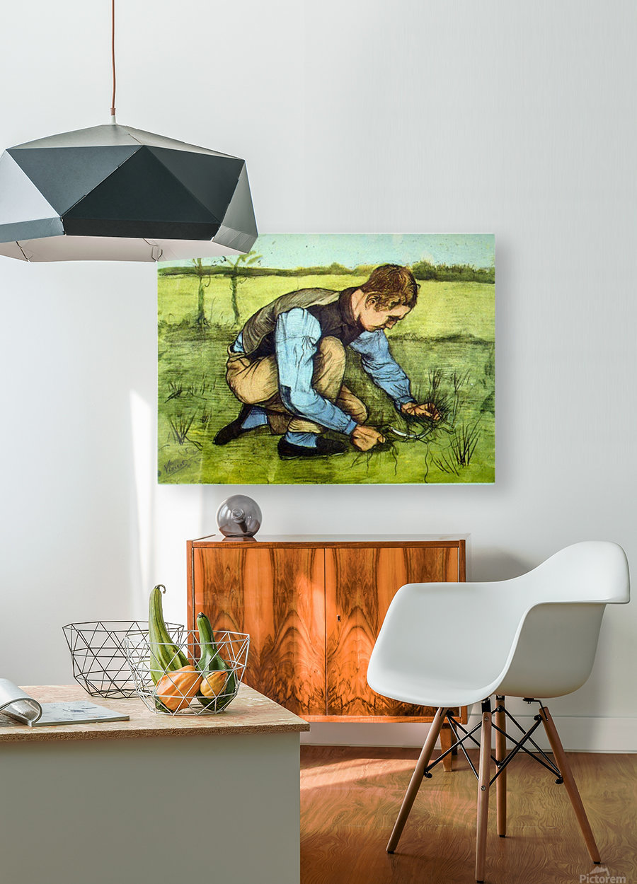 Cutting Grass by Van Gogh  HD Metal print with Floating Frame on Back