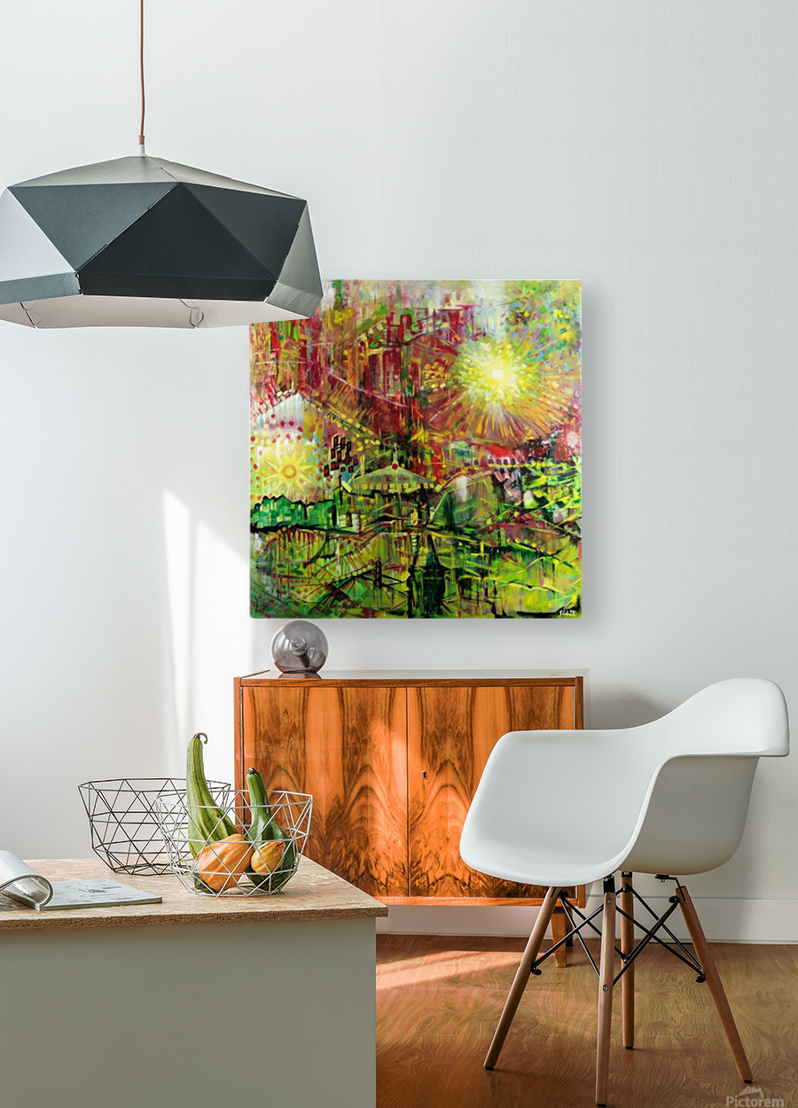 Landscape with two Suns and UFO  HD Metal print with Floating Frame on Back