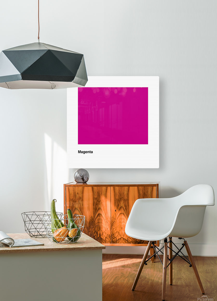 Solid Magenta Process color  HD Metal print with Floating Frame on Back