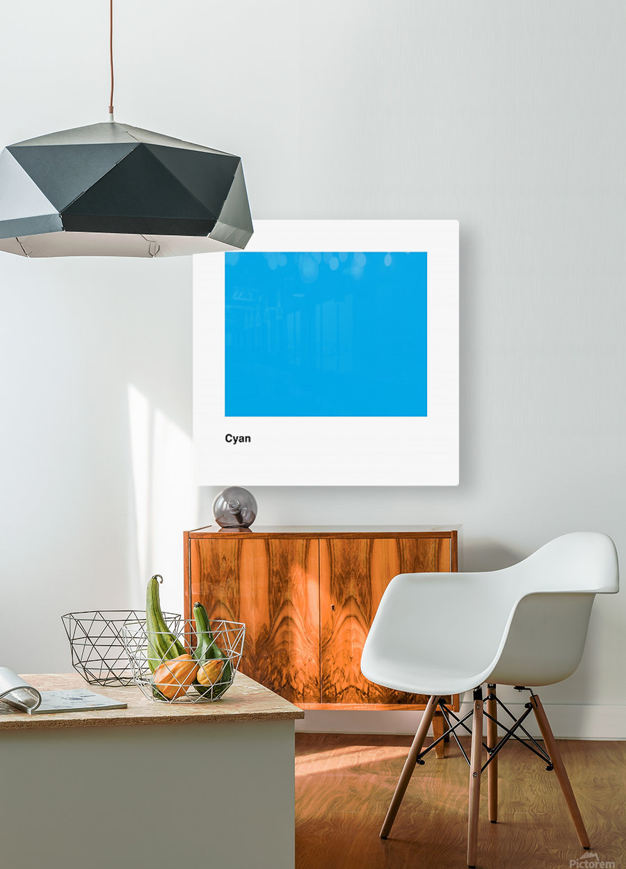Solid Cyan Process color with word  HD Metal print with Floating Frame on Back