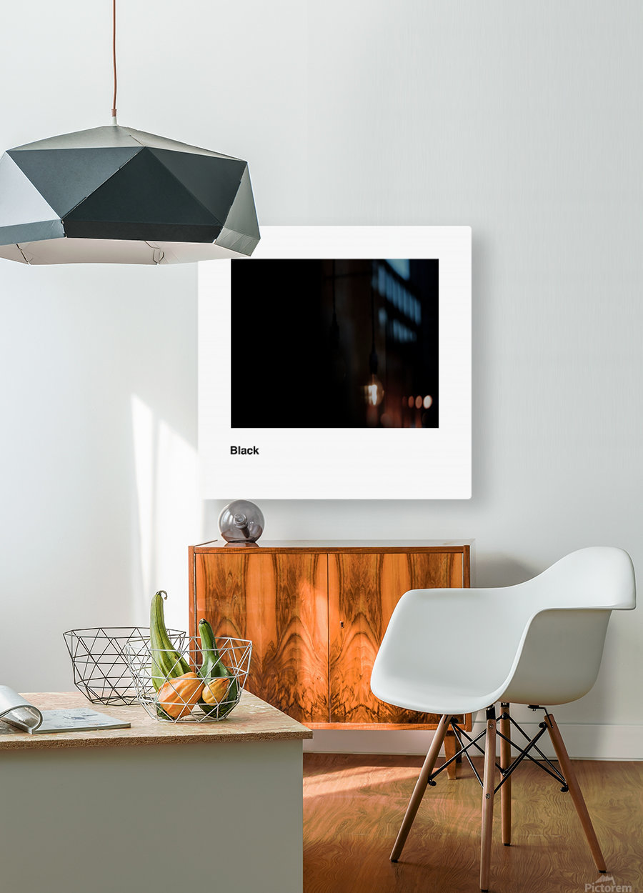 Solid Black process color with word  HD Metal print with Floating Frame on Back