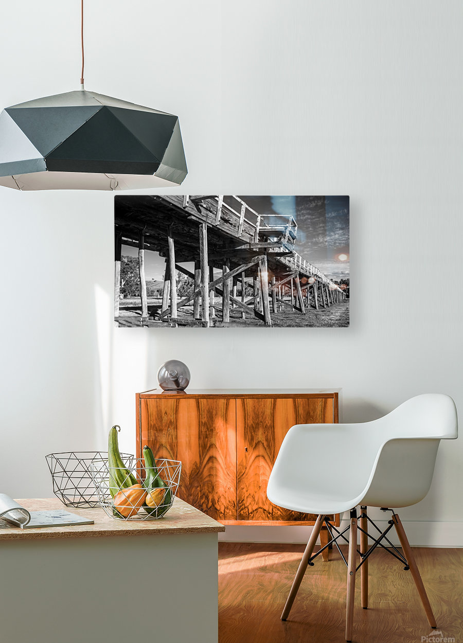 Old disused railway bridge New South Wales australia Mono  HD Metal print with Floating Frame on Back