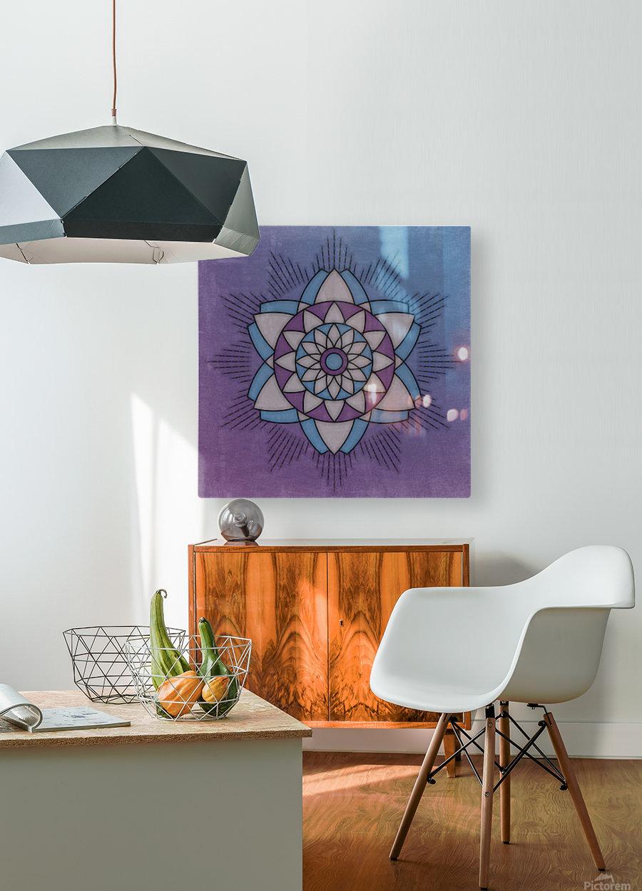 Simple Vintage Glow Mandala Solid  HD Metal print with Floating Frame on Back