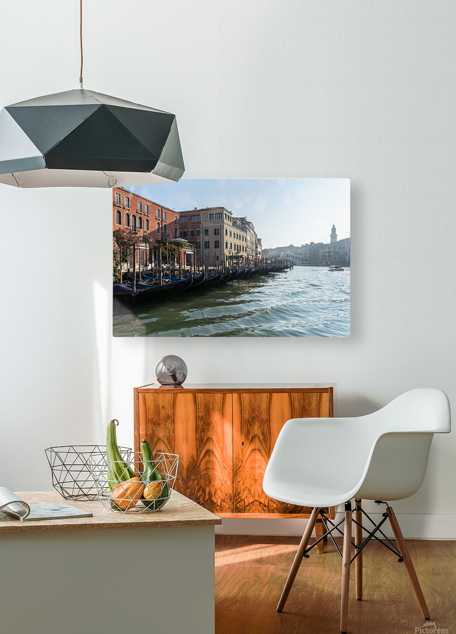 Classic Venetian - Glossy Gondolas And Ripples On The Grand Canal  HD Metal print with Floating Frame on Back